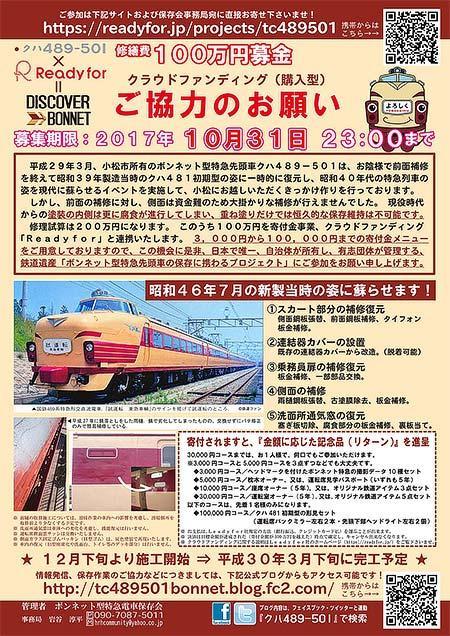 「ボンネット型特急電車をクハ489-501のデビュー姿に再現するプロジェクト」実施中