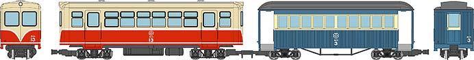 キハ11白帯塗装・ホハ1形新塗装