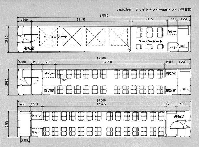 JR北海道 フライトナンバー508トレイン 平面図