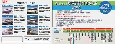 東京モノレールまつり開催記念 東京モノレール沿線お散歩1dayパス(裏面)