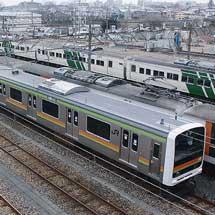 209系3000番台ハエ63編成が東大宮(操)へ