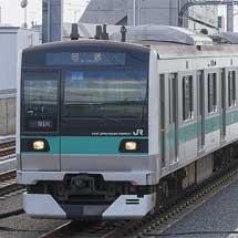 E233系2000番台マト7編成が返却回送される
