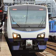 弘前駅でHB-E300系「リゾートしらかみ青池」の公開