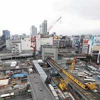 渋谷駅周辺地区の再開発事業東口地下広場の工事現場を見る