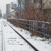 冬の手宮線散歩 手宮線跡地の整備