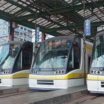 鹿児島駅前で「ユートラムII」が3本並ぶ